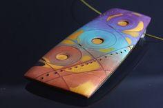 Alien Skies - Polymer Clay Mokume Gane Pendant by JagnaB