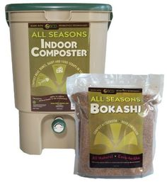 All Seasons Indoor Composter Kit, Tan Bucket with Bokashi