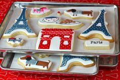 decorating cookies, paris theme, parisian style, paris party, pari cooki, biscuit, themed parties, royal icing cookies, iced cookies