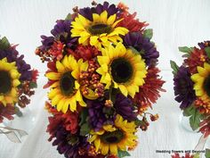10 piece MaDe To ORDeR FaLL WeDDiNG SiLK Flower Package SuNFLoWeRS BouQueTS and BouToNNieRS on Etsy, $325.00