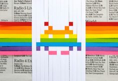 #wovengifttopper paper craft, paper weav, gift topper, gift wrapping, gifts, space invaders, papers, rainbow, diy