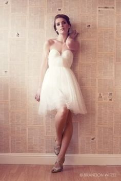 White tule dress with sweetheart bust ~ (bonus pin for the newspaper wallpaper background)