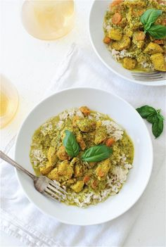 Coconut basil chicken with brown rice.
