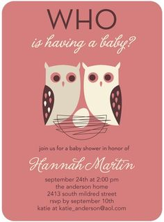 Baby Shower Invitations Whose Nest - Owl Themed