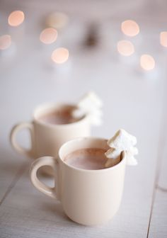 Homemade hot cocoa with marshmallow winter trees