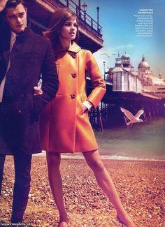 vogue, brighton, vintage photos, color, natalia vodianova, fashion editorials, grace coddington, coat, september