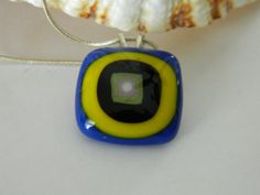 Fused Glass Square Retro Blue and Yellow pendant by uniquenique, $22.00 #onfireteam #lacwe #teamfest #tbec #jewelry #handmade