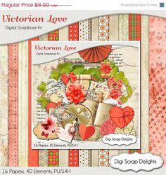 40 Off SALE Victorian Love Digital Scrapbook by DigiScrapDelights