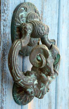 Door Knocker, Bronze Aries Ram