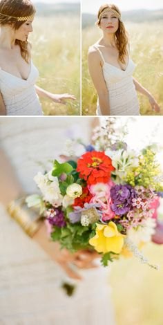 beautiful bride and stunning #bouquet. Everything i love, pure #mismatched heaven and bursting with colour.