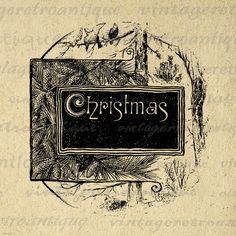 Printable Digital Christmas Text with Pine by VintageRetroAntique, $3.50