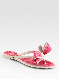 #Valentino - Lace-Print Bow Jelly Thong Sandals