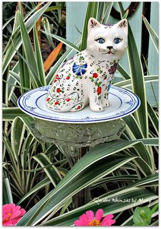 Floral Cat Garden Totem Stake  As Featured by GardenWhimsiesByMary