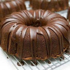 Chocolate drizzled chocolate cake