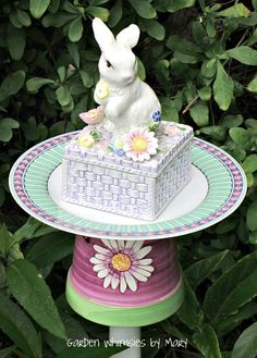 Bunny garden totem stake by Garden Whimsies by Mary