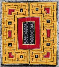 MIAO - SHOULDER COVER  Circa 1930 China (Miao Minority). Shoulder cover, embroidered appliqued cotton, areas of very finely embroidered silk & cotton in cross stitch designs.