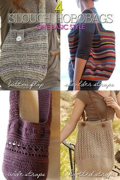 Slouch Hobobags | different designs and tips on creating different handle designs | free patterns available