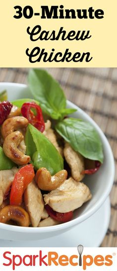 Better-Than-Takeout Cashew Chicken: OMG....this is the best meal ever!!!!! My family and I could eat this for a week straight! | via @SparkPeople #food #recipe #dinner #Asian #Chinese #healthy #quick