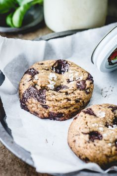 chocolate chip cookies with herb-infused butter and fleur de sel