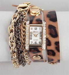 Leopard Chain Fringe Wrap Watch