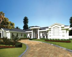This 5 bedroom luxury home is on one level and has more than 5300 square feet of living space.  House Plan # 611032.