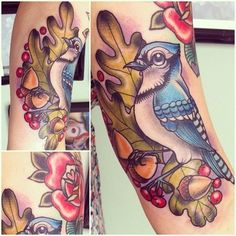 Fun blue jay I got to tattoo this morning Thankyou Heather#jay #bluejay #tattoo #bird #berries #fruit #leaves #oakleaves #acorns  (Taken with Instagram at Modern body art)