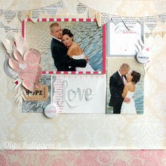 Wedding classic layout - Love - Scrapbook.com - Die cut or hand cut a title and then machine stitch through the letters for a pretty homespun look.