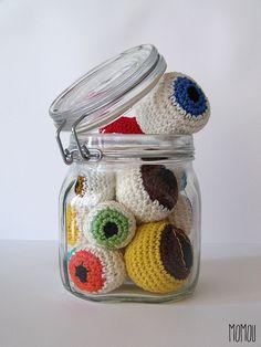 Eyeballs in a jar by Momou crochet, via Flickr