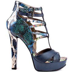 Tynen heels Blue Reptile PU brand heels Michael Antonio