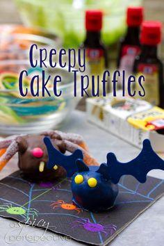Creepy Crawly Cake Truffles | ASpicyPerspective.com #Halloween #Cake #Recipe