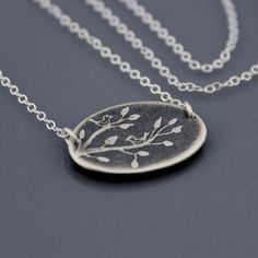Two Birds on a Branch Necklace by Lisa Hopkins Design :: tiny hand drawn artwork etched into sterling silver