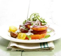 Heirloom Tomato Salad with Blue Cheese Dressing.