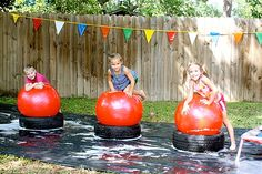 themed birthday parties, play spaces, obstacle course, birthday games, kid birthdays, backyard play, kids, kid birthday parties, wipeout party