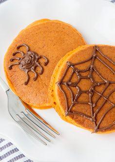 Pumpkin Pancakes with Chocolate Spiderwebs recipe