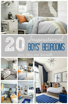 Great collection of fun and inspirational boys' rooms for kids of all ages.  via: Clean and Scentsible