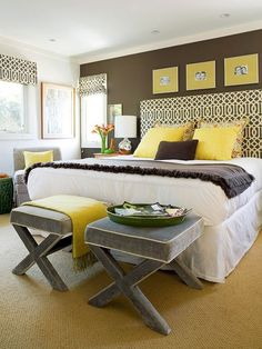 Brown gray yellow bedroom decor