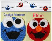 PDF Pattern for Elmo and Cookie Monster Appliques, Party Garlands, or Stuffed Toys by KraftyShack on Etsy, $2.99 USD