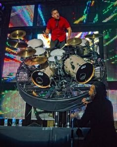 Duncan Phillips, drummer for the Newsboys, plays on a spinning rotating stage and never misses a beat.  Amazing talent.