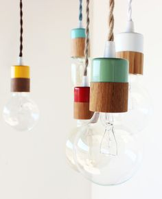 Love this simple lamps and colors ... Verlichting van Onefortythree - vtwonen