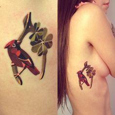 abstract geometric watercolor cardinal tattoo --- NOW I REALLY WANT A CARDINAL TATTOO. DAMN IT.