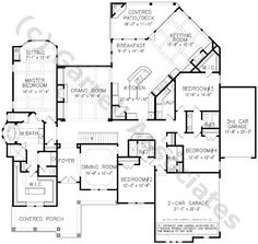 04052, Franciscan House Plan, Floor Plan, Ranch Style House Plans, One Story House Plans, Traditional Style House Plans, Wheelchair Accessible House Plans