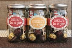 Energy in a Jar...cute finals week gift for student staff