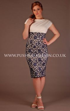 The Pretty Dress Company Navy and Cream Lace Melrose Dress