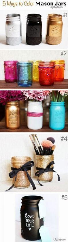 some ways to color a mason jar