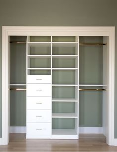 closet idea-can do this to existing closet with divider and a few drawers. Maybe change out the doors?