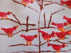 Potato-stamped birds.