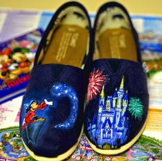 Hand painted Disney shoes (click through for more designs including theme park locations.)
