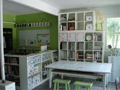 Being an imperfect, incomplete perfectionist, I would probably just come in here and imagine being worthy of a craft room like this.