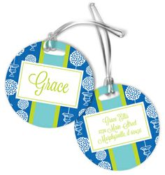 Blue Topiary Luggage Tags