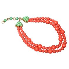 Coral Bead Necklace By Coppola e Toppo - Italy  c.1950's